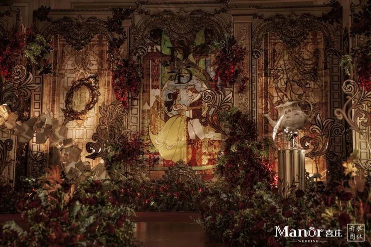 因玫瑰而升华的欧式婚礼,美女与野兽的美好童话