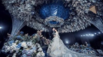 把博物馆搬来了婚礼现场,蓝色的英伦风,是彼此的约定