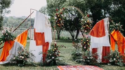 橙色户外草坪婚礼