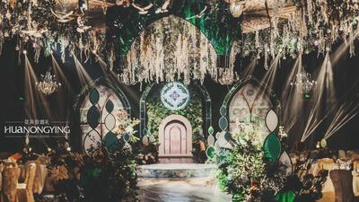 神圣的教堂婚礼,孔雀绿的高贵,香槟色的璀璨