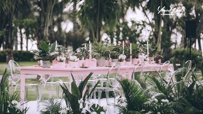 粉色的户外婚礼,建造属于你的纯净花园,梦幻极了
