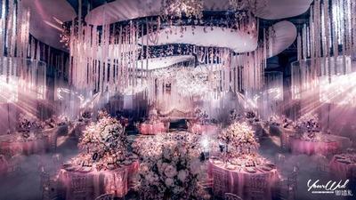 一场粉色的现代婚礼,花花世界的浪漫,你是余生的英雄