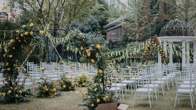 黄色小清新草坪婚礼
