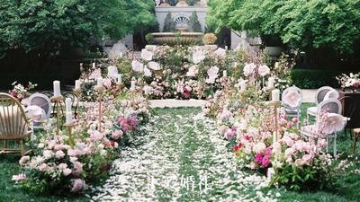 有谁相爱不是一见钟情,粉白色的户外婚礼,安静又美好