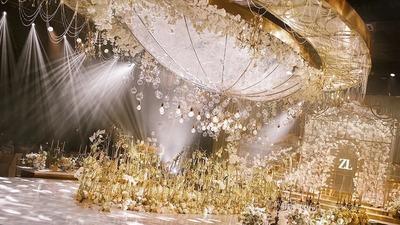 香槟色的定制婚礼,高级的复古宫廷风