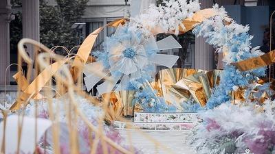 蓝粉色户外婚礼