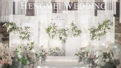 白绿色极简小清新婚礼,这是很多女孩喜欢的感觉