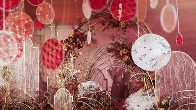 福如东海长流水,如月之恒,红色中式寿宴