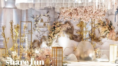 传统与新潮的相得益彰,蓝色新中式婚礼