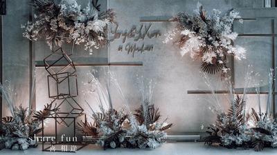 白、灰、蓝、三色碰撞 给你不一样的婚礼体验