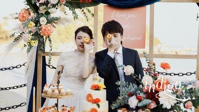 蓝橙的户外婚礼,撞色搭配的精彩
