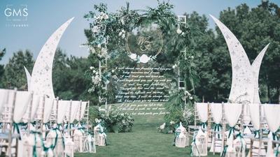 风与你都很温柔,白绿色户外婚礼