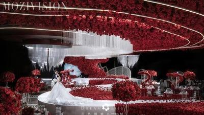 繁星璀璨,人月两团圆,红白色抽象线条婚礼