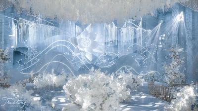 云深不知处,莲花弄人影,冰蓝色清新婚礼