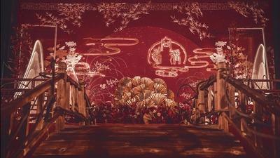 砖红色+金色中式婚礼