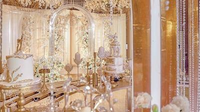 香槟金、月光白,这场婚礼浪漫的不像话