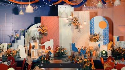 美式乡村和摩登的融合,深蓝和橙色的撞色婚礼