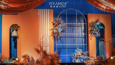 一场夏天的橙蓝色婚礼,弥漫着橘子味汽水的香甜