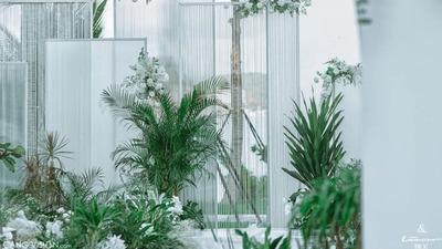 一场海岛目的地婚礼,白绿色营造出清新圣洁的婚礼世界