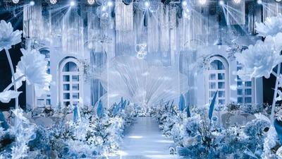 千丝万缕的蓝色婚礼,蓝白色的温和清新