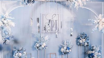 简约的蓝色婚礼,整体营造一场简约而不失精致的唯美婚礼