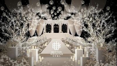 香槟色韩式简约婚礼,轻奢风的巴洛克浪漫