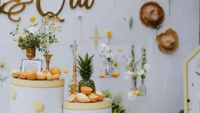 一场橙色的温暖婚礼,阳光下的美好感情
