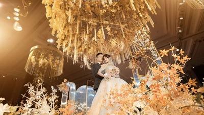 时尚简约风香槟粉婚礼,垂吊轻奢高级吊顶