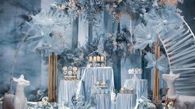 雾霾蓝仙气婚礼,简单清凉而不失唯美