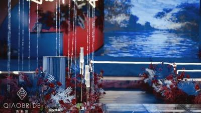 红蓝撞色的视觉婚礼,一场小众的高级氛围婚礼