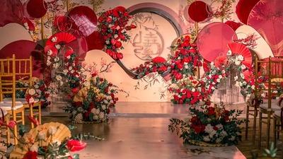 红色中国风婚礼,香槟色点缀的典雅氛围