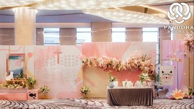 粉色和绿色的温暖婚礼,猫咪和波普风格的融合