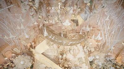 香槟色浪漫婚礼,圆形宴会厅的梦幻氛围