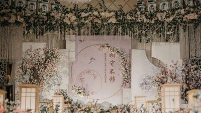 香槟色新中式婚礼,原木材质带来的温馨
