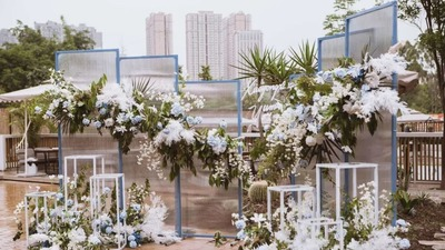 蓝白色的户外庭院婚礼,白色纱幔更显飘逸纯粹