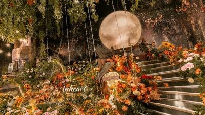 法式田园橙色系婚礼,一片质朴的浪漫森林
