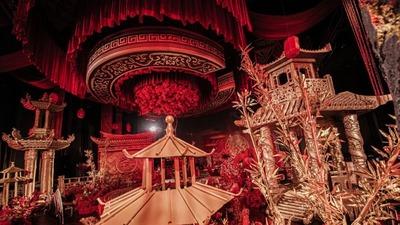 庄严大气的红色中式婚礼,每一处都营造着国韵风味