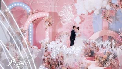 粉色+蓝色系婚礼