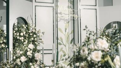 结合法式古典园林主义,营造一场简单纯粹的白绿色婚礼