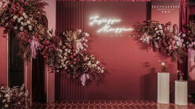 高级感气质酒红婚礼,更具时尚感的情绪传递