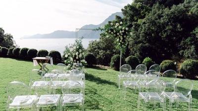 一场天空和山涯间的现代花园婚礼
