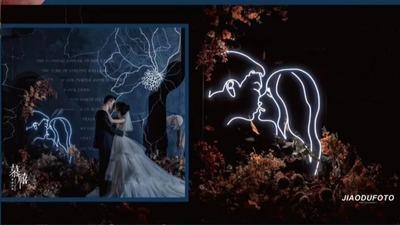 以蓝色为主调的婚礼,加入橘色和白色定格下这场复古气质的油画