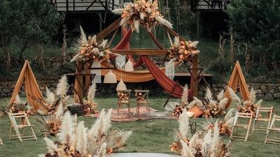 秋天中的秋色系婚礼,复古的气质把万物变温柔