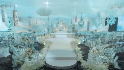 一场清新清冷的兰色婚礼,淡雅自然的天空之境