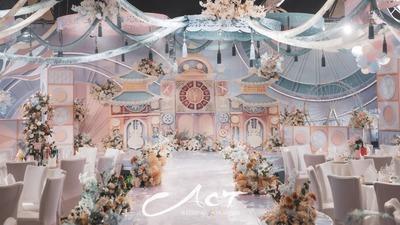 粉蓝色系的童话城堡婚礼