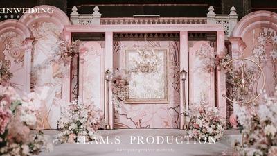 优雅柔和的淡粉色,一场有着浓郁艺术风情的婚礼