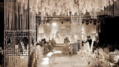 淡雅的木色静谧的米色,一场典雅的新中式婚礼