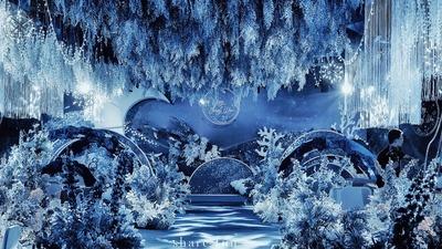 星空与大海相结合的蓝色系婚礼