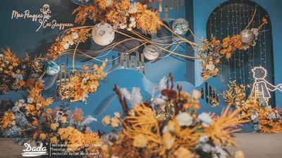 蓝色和橙色的搭配,一场以小王子为主题的婚礼