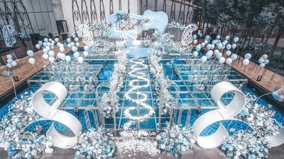 清透蓝+温柔白的治愈系配色,一场蓝色简约感婚礼